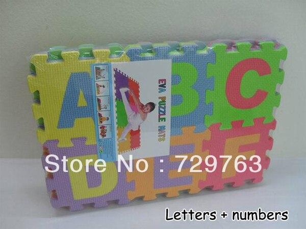 36 Pcs Environmentally EVA Foam Numbers+Alphabet Play Mat Puzzle ...