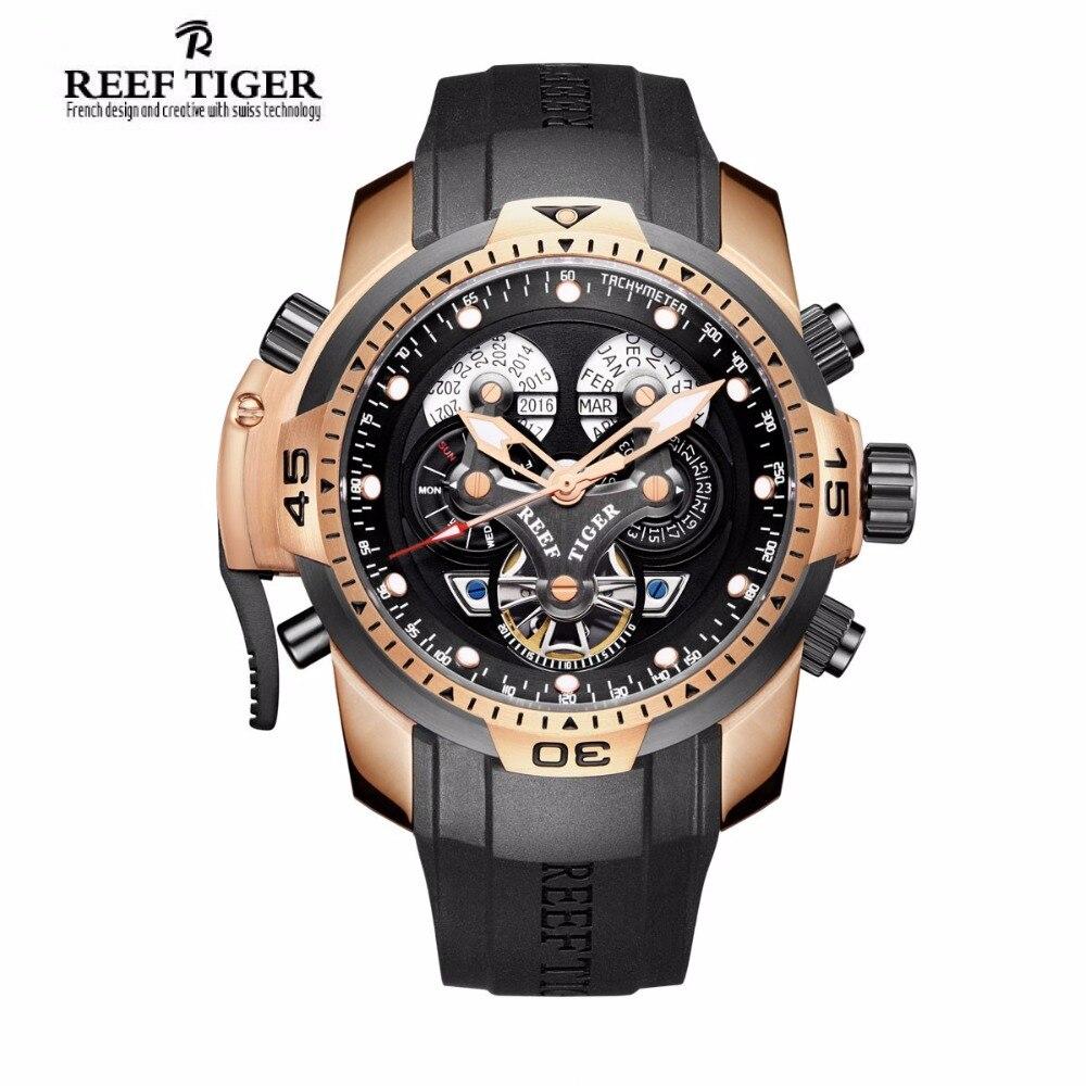 Риф Тигр/RT дизайнер Часы для Для мужчин большой циферблат сложные часы с вечным Календари каучуковый ремешок часы rga3503