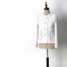 Las mujeres de moda elegante jacquard chaqueta de tweed diamantes botones  solo breasted pequeños bolsillos blanco chaquetas nuev. f2c07c52114cb