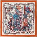 130 * 130cmTwill Silk Scarf square echarpes foulard women Time Lab scarves shawls bufandas