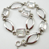 Solid Silver CUBIC ZIRCON Bracelet 8.3 ! Affordable Wedding Jewelry