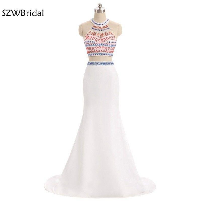 Vestido de festa High Neck Mermaid   Prom     dresses   2019 Two piece   Prom     dress   Plus size vestidos de festa Fashion Party   dresses
