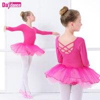 Sıcak Pembe Uzun Kollu Bale Tutu Elbise Kız Dans Leotard Lirik Performans Bale Dans Giyim