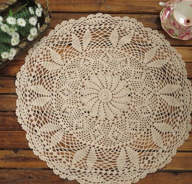 Bon Handmade Crochet Flower Cotton Tablecloths Woven Round Beige 60CM Coffee Table  Cloth Sofa Towel Home Cover