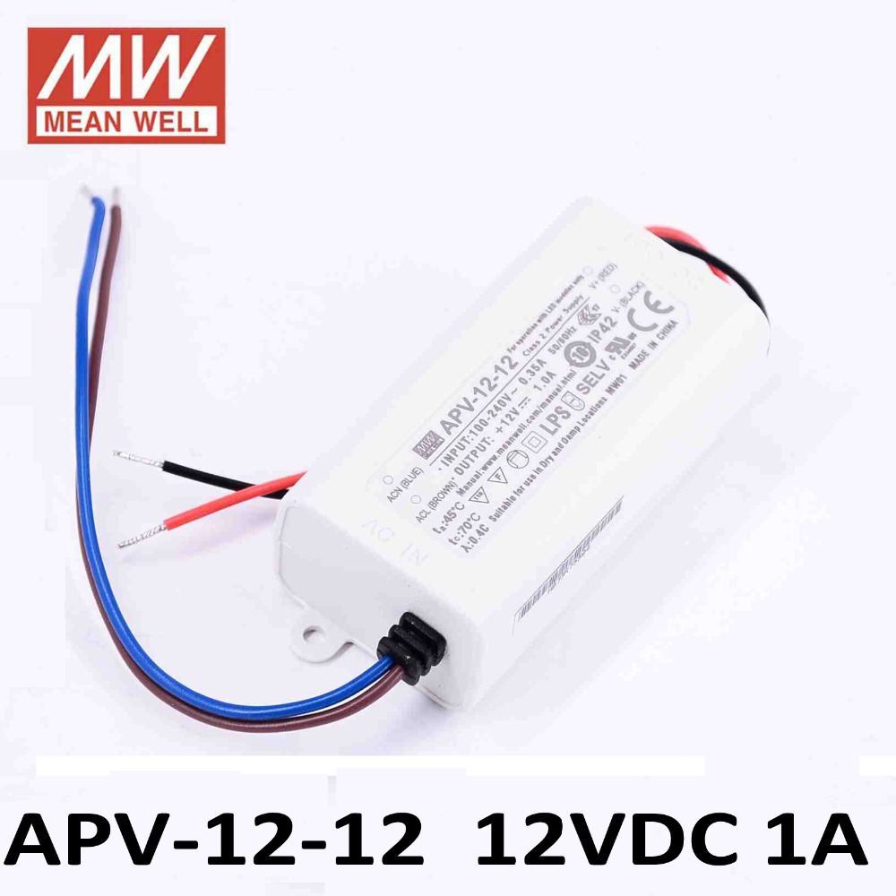 LED power supply 12W 12V 1A ; MeanWell APV-12-12 ; Switching power supply