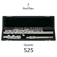 Pearl Quantz 525 C Tune 16 Keys Open Holes Flute Silver Plated Musical Instrument Flute With Accessories Free Shipping