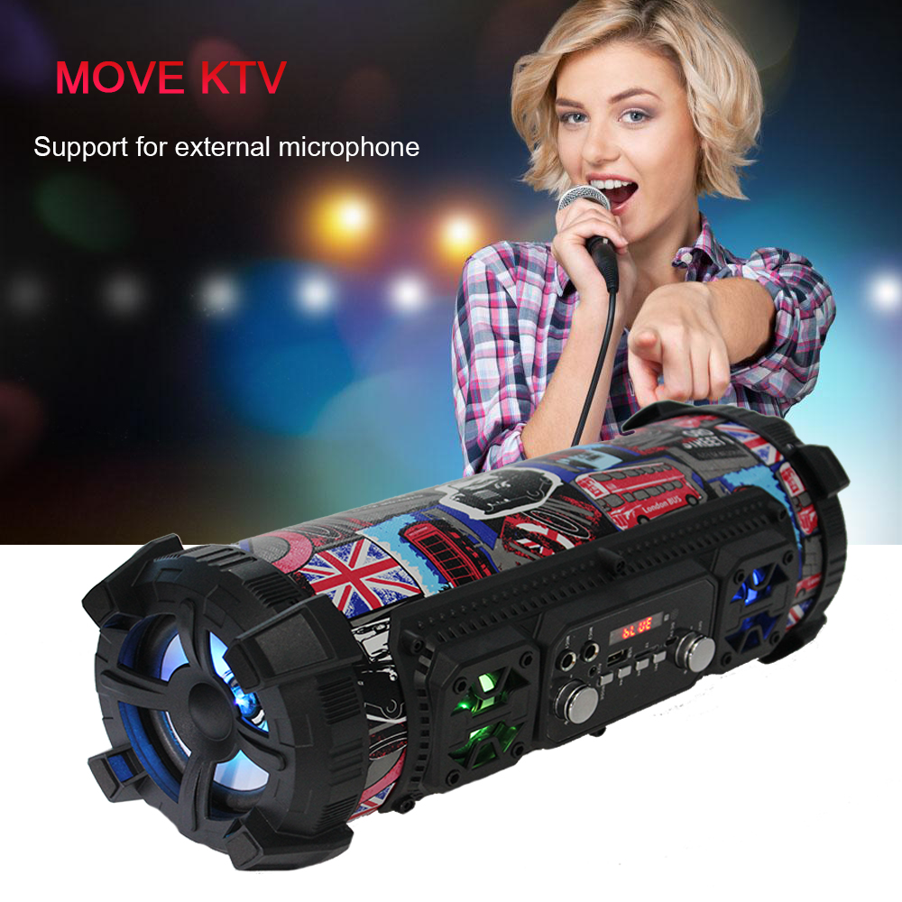 HIFI Portable Bluetooth Speaker FM Radio Move KTV 3D Sound Unit Wireless Surround TV Sound Bar Subwoofer 15W outdoor MIC Speaker in Portable Speakers from Consumer Electronics
