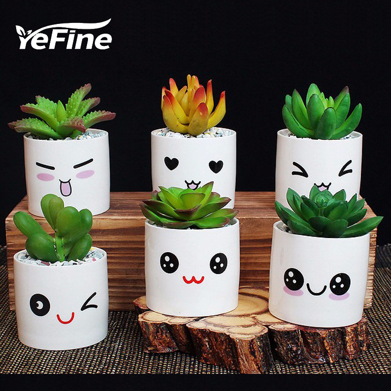 YeFine de cerámica pequeñas macetas decorativas florales - Productos de jardín