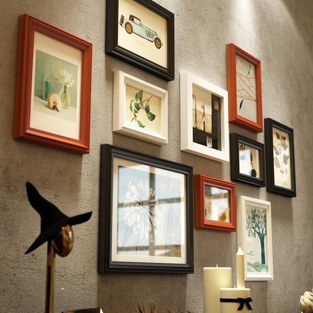 10 Pcs Classical Simple Three Colors Photo Frames Set Wooden Wall ...