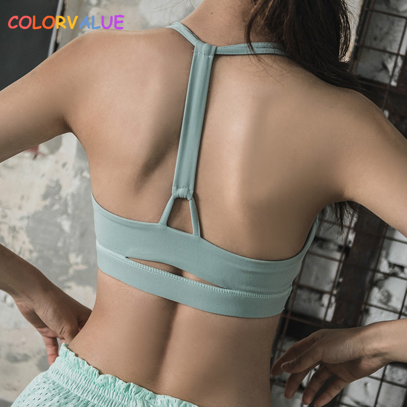 Colorvalue High Impact Sport Fitness Bra Vest Women Push Up Fitness Yoga Bra Top Plus Size Solid Workout Athletic Underwear цена