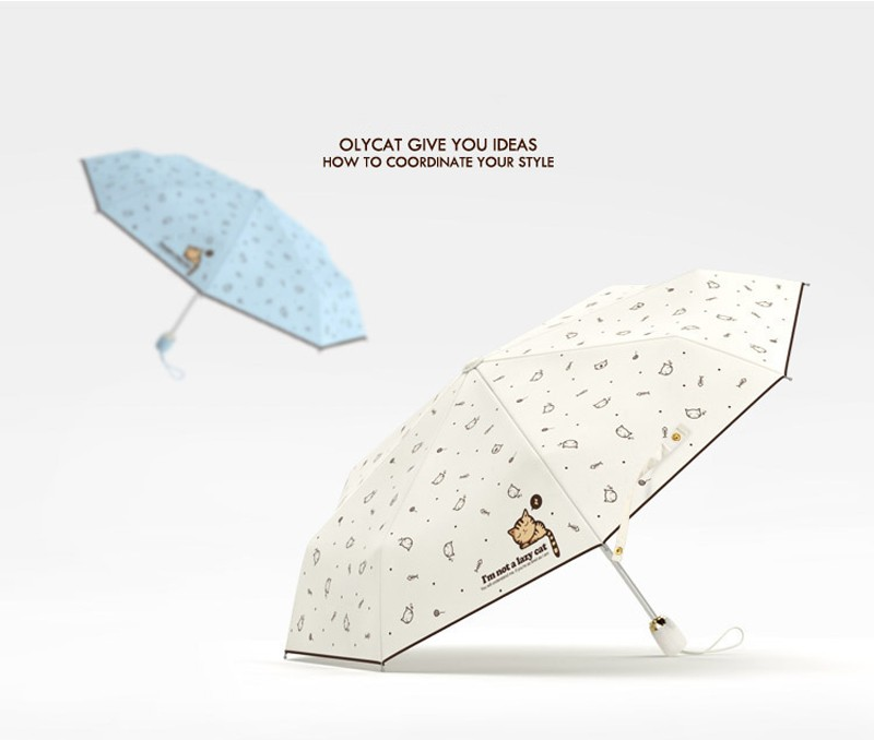 Cartoon Lazy Cat Auto OpenClose Folding Umbrella Rain Women Men Sun Umbrella Anti-UV Windproof Automatic Parasol Mini9