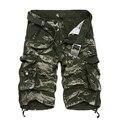 2016 Verão Moda Shorts Da Carga Dos Homens Casual Algodão Solto Camo Calf-comprimento Multi-Bolso Bermuda Masculina Calças Curtas
