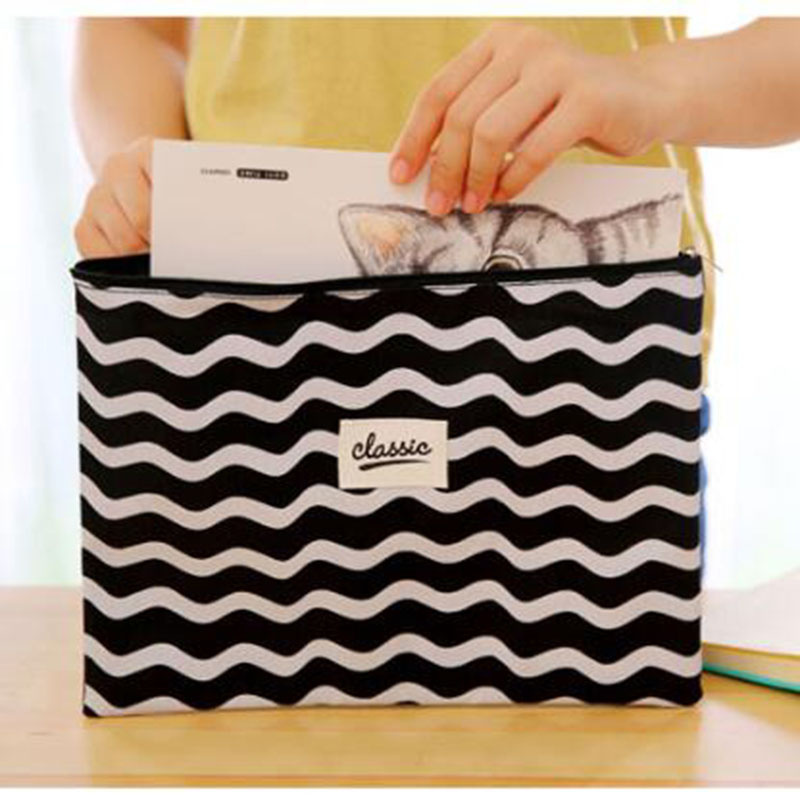 A4 Black And White Wavy Leather Zipper Paper Clip Book Pencil Pencil Case Information Student Paper Portfolio File Bag