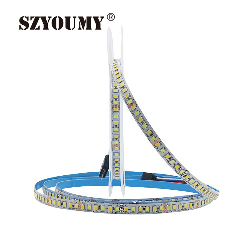 SZYOUMY SMD 2835 CW/WW Dual White Color Temperature Adjustable CCT 12V 24V Double Color LED Flexible Strip 180leds/m Tape Light