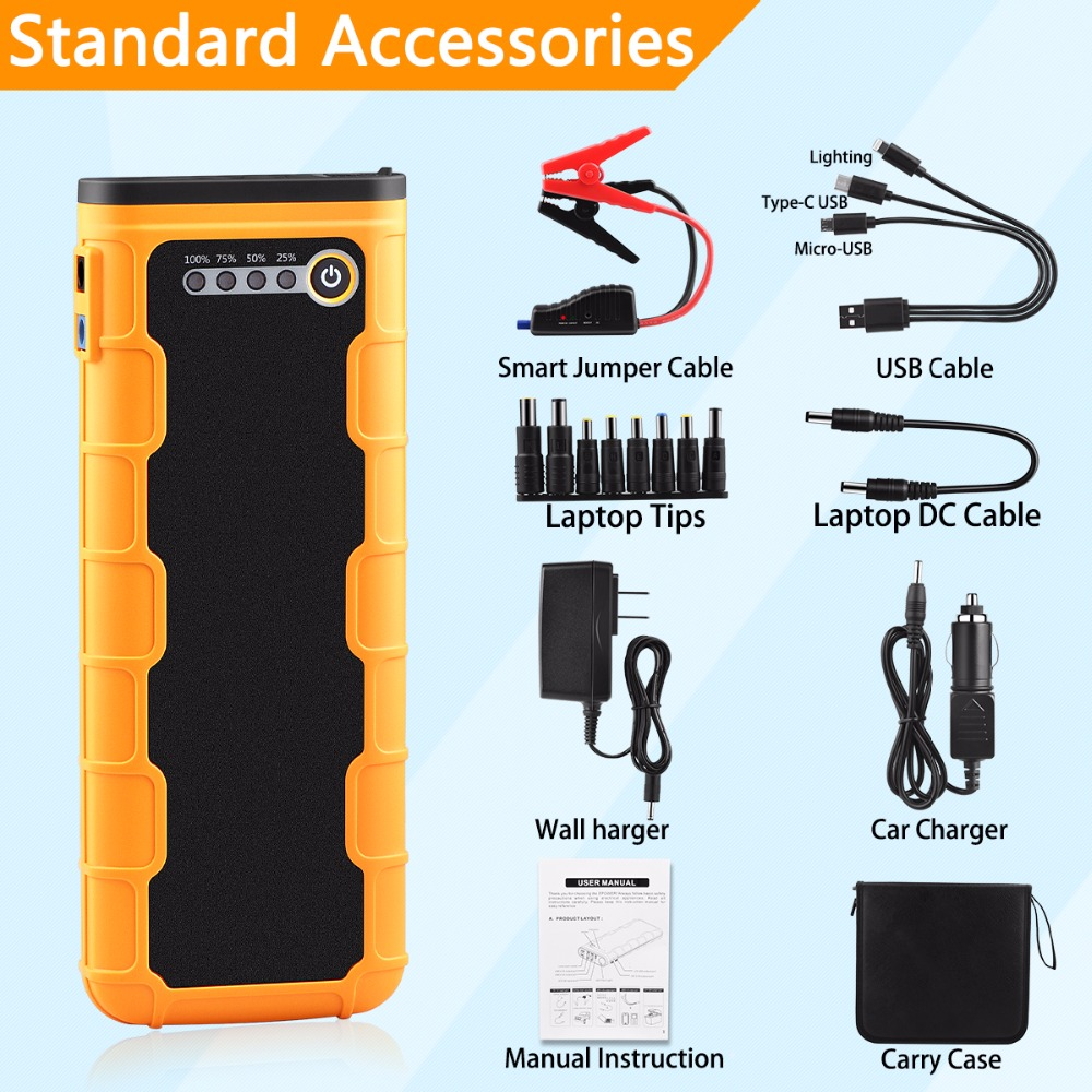 Image 5 - 20800mAh Car Jump Starter 1000A Portable 12V External Car Battery Multi function Vehicle Emergency Battery Booster Power Bank-in Jump Starter from Automobiles & Motorcycles