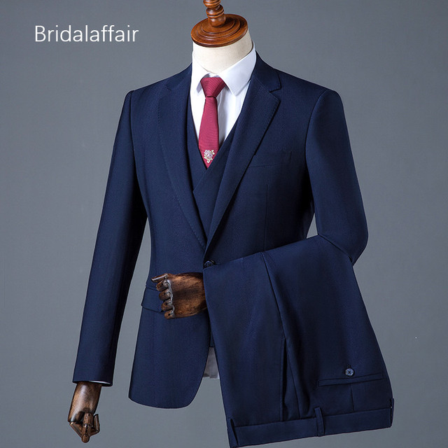 Bridalaffair Formal Navy Blue Color Suit Men Set Wedding Suits For Mens Slim Fit Groom Luxury