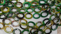 Larger 28x35mm Full Strand Natural Agate Onyx Round Oval Loop Circles Donut Stone Green Yellow Red