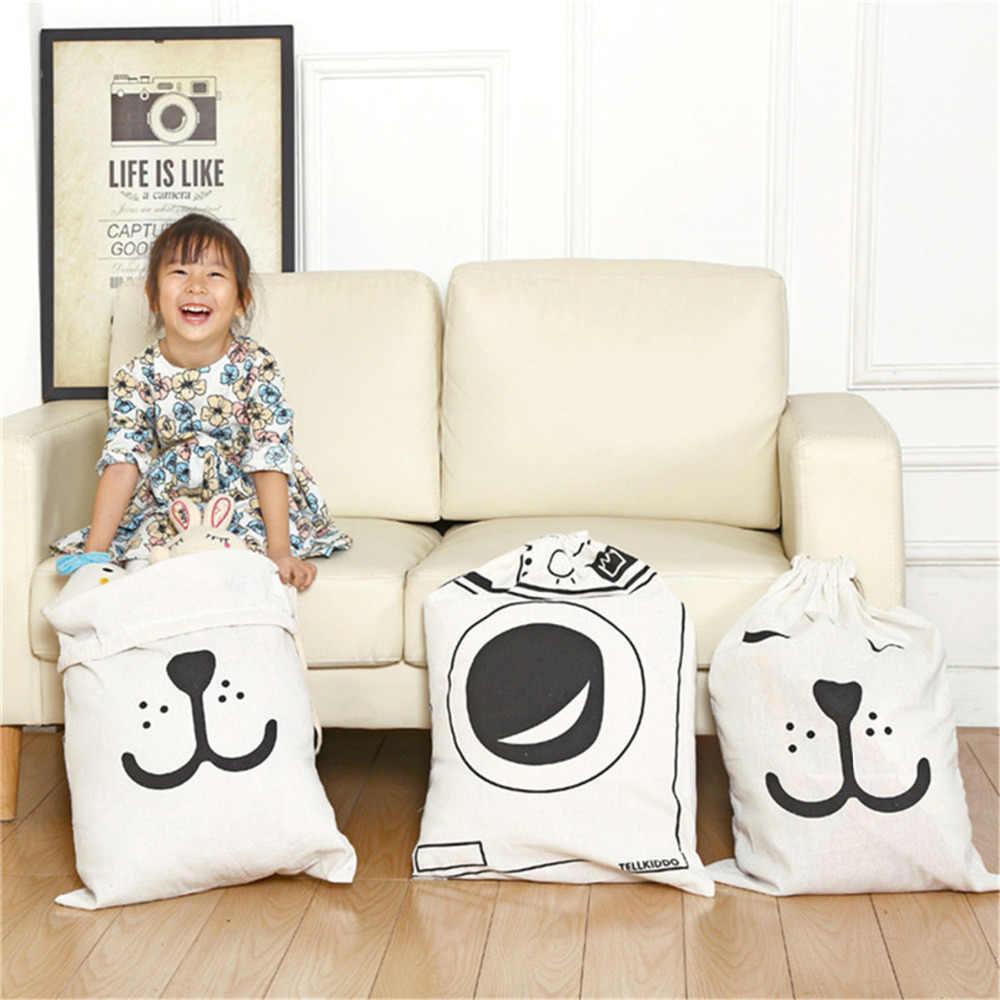 Grande Saco de Lona Cesta De Armazenamento De Linho de Algodão Dos Desenhos Animados Crianças Quarto Padrões Saco Organizador Bolsa de Lavanderia para o Brinquedo Do Bebê Clothings
