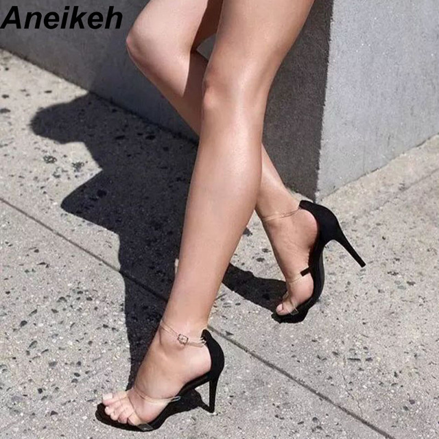 91ec08fe2e6a Aneikeh 2019 Sexy Fashion Sandals PVC Crystal Women Shoes Summer Buckle Strap  Ankle Strap High Heels Ladies Pumps Shoes Black