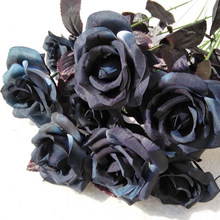 9PCS Artificial Black Rose Bouquet Simulation Plant Plastic Fake Flower Wedding Decoration Dried Fower Photography Props(China)