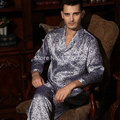 Men Brand Silk Sleepwear Long-sleeve Pajama Set 100% Mulberry Silk Classic Sleepwear Twinset L/XL/XXL Free Shipping