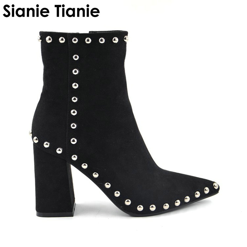 Sianie Tianie pointed toe block high heels boots for woman fashion punk studded rivets side zip women ankle boots plus size 43 drop shipping fashion women black buckle zip side round toe star low heels comfortable rivets plus size short ankle boots lady