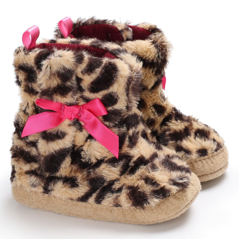 Baby Girls Shoes Newborn Boots Shoes Leopard Cute Bow Non-slip Baby Boots First Walkers Baby Shoes Warm Winter