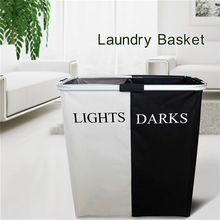 1pc Collapsible Dirty Clothes Laundry Basket Two Grid Bathroom Laundry Hamper Organizer Home Office Metal Storage Basket New