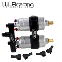 WLR RACING One piece Double hole fuel pump bracket with PQY logo + Two pieces 044 fuel pump OEM:0580 254 044 300LPH