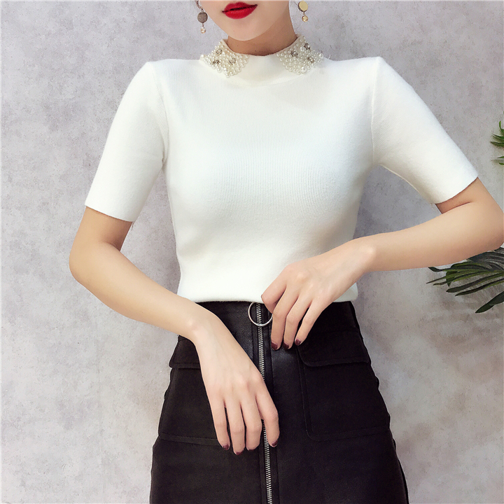 ALPHALMODA 18 Summer Ladies Short-sleeved Pearl Collar Pullovers Casual Slim Knit Sweater Women Studded Fashion Jumpers 20