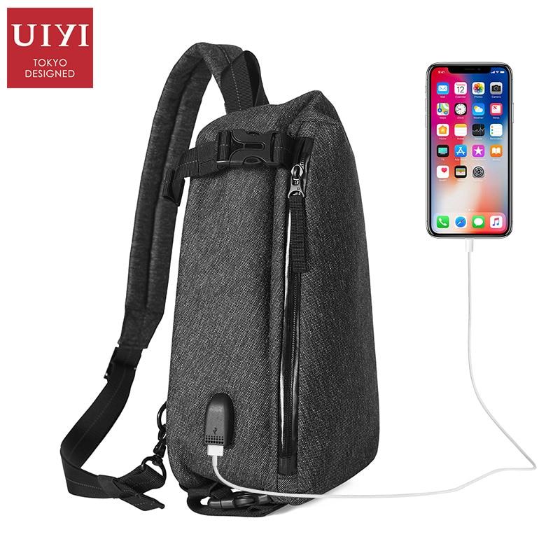 UIYI Mens USB External Charging Cable Fashion Chest Bag Waterproof Nylon Travel Shoulder Messenger Bag Male Handbag iPad Ba
