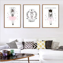Pink ballet princess Posters and Prints Canvas Art Painting Wall Art Nursery Decorative Picture Nordic Style Kids living room modern style scenery posters canvas art painting wall art nursery decorative picture nordic style kids deco