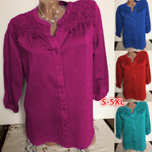 Large size Womens Blouse 2019 autumn new solid color seven-point sleeves lace shirt S-5XL