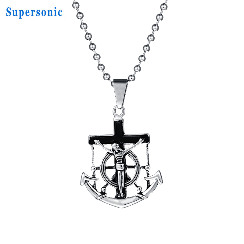 High Quality Stainless Steel Jesus Cross Pendant Necklace Retro Punk Anchor Beads Chain Necklace Christmas Gift
