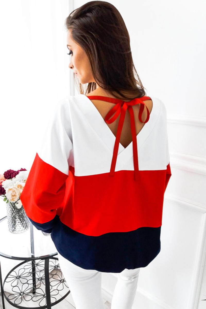 oyddup осень 2017 г. для женщин свободные повседневные топы корректирующие с длинным рукавом о-воротник три-цвет лоскутная блузка сзади в воротник ленты толстовка