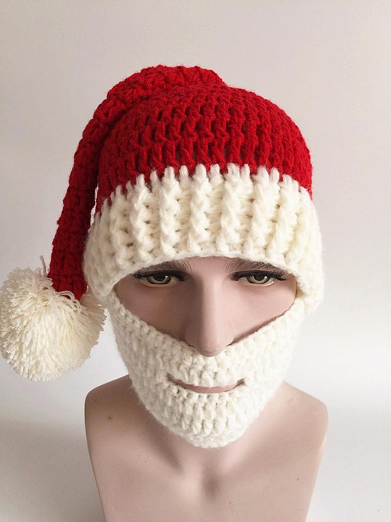 2016 Adult Crochet Knit Beanie Santa Claus Handmade Knitted Hat Hot Fashion Bearded Cap Women Men Christmas Gifts Accessories (2)