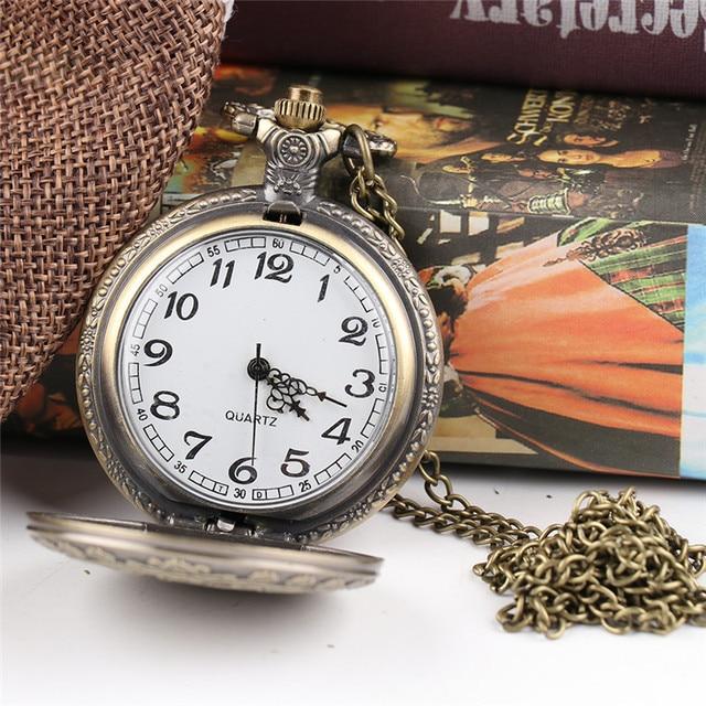 Retro Alice In Wonderland Theme Steampunk Pocket Watch Bronze Quartz Pocket Watc