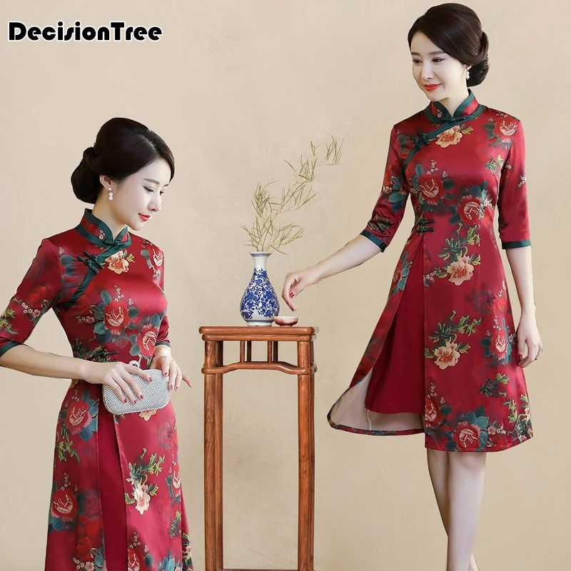 576f1f14a 2019 new chinese traditional dress long sleeve red black cheongsam  traditional chinese dresses for women sex