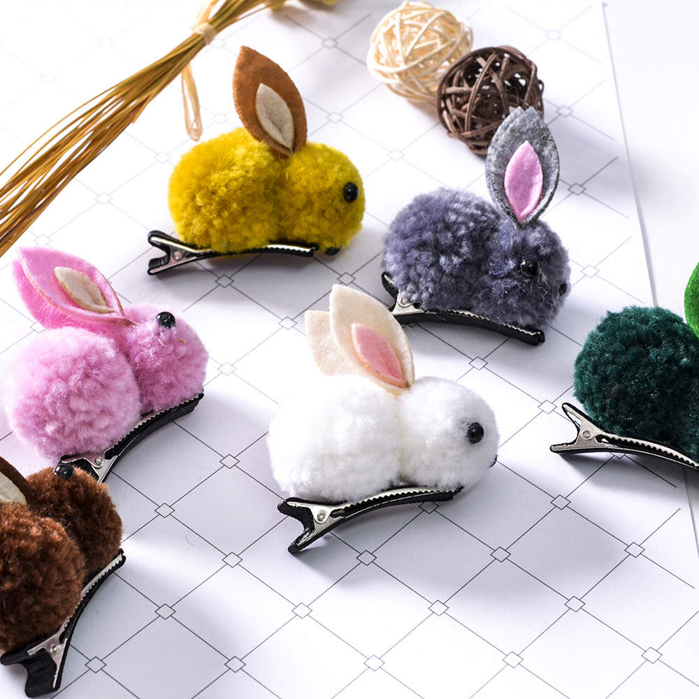 Lovely Plush Pom Rabbit Girls Kids Hair Pins with Ribbon Hairpins Hairclips Headdress Hair Clip Hair Accessories   Headwear