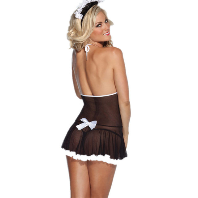 Cosplay Maid Uniform Lenceria Sexy Costumes Sexy Lingerie Hot Lace Perspective Babydoll Chemise Erotic Lingerie For Women