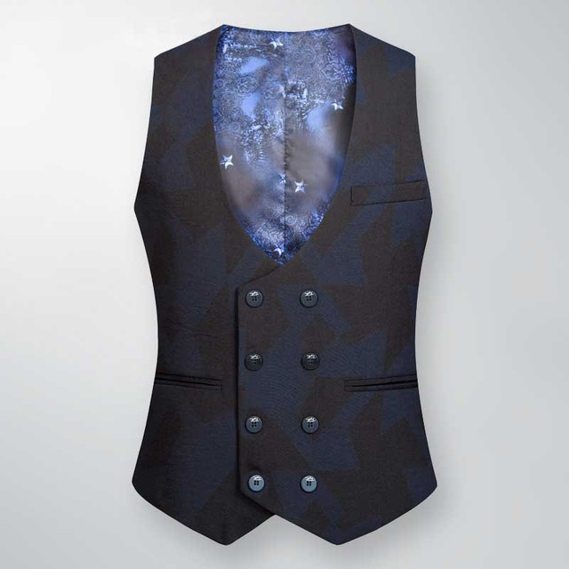 High Quality Spring Autumn Slimming Vest Men Suit Vest Double Breasted Office Wedding Formal Vest Male Waistcoat