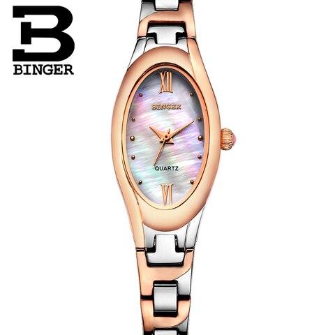 Relógios de Quartzo Relógio de Pulso de Aço Cheio de Cristais de Luxo Assistir à Prova Moda Retro Oval Mulheres Pulseira Natureza Shell Strass d' Água