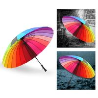 Rainbow Umbrella Double Hand Open Steel Bone Umbrella Straight Handle Household Merchandises For Women