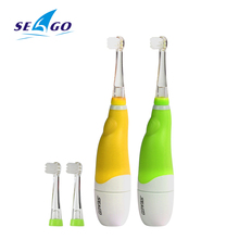 SEAGO Baby Sonic Toothbrush ( Age of 6 month + ) Battery Powered LED Light Electric Toothbrush Waterproof 3 Brush Heads SG602