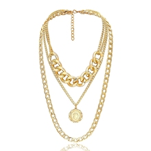 Punk Cuban Choker Necklace Exaggerated Thick Chain Fashion Queen Pendant Women Jewelry