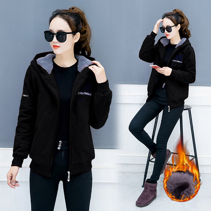 Hooded Sweatshirts autumn and winter women's plus velvet new warm thickening loose fashion letters embroidery versatile coat JQ3 34
