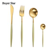 Buyer Star Stainless Steel Flatware Cutlery Kitchen Dinnerware include Knife Fork Spoon Sturdy Tableware Silverware Set