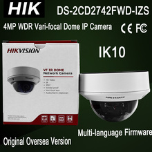 DHL Free shipping Best English version DS-2CD2742FWD-IZS Audio POE 4MP WDR Vari-focal Motorized Lens Dome Network IP Camera IK10