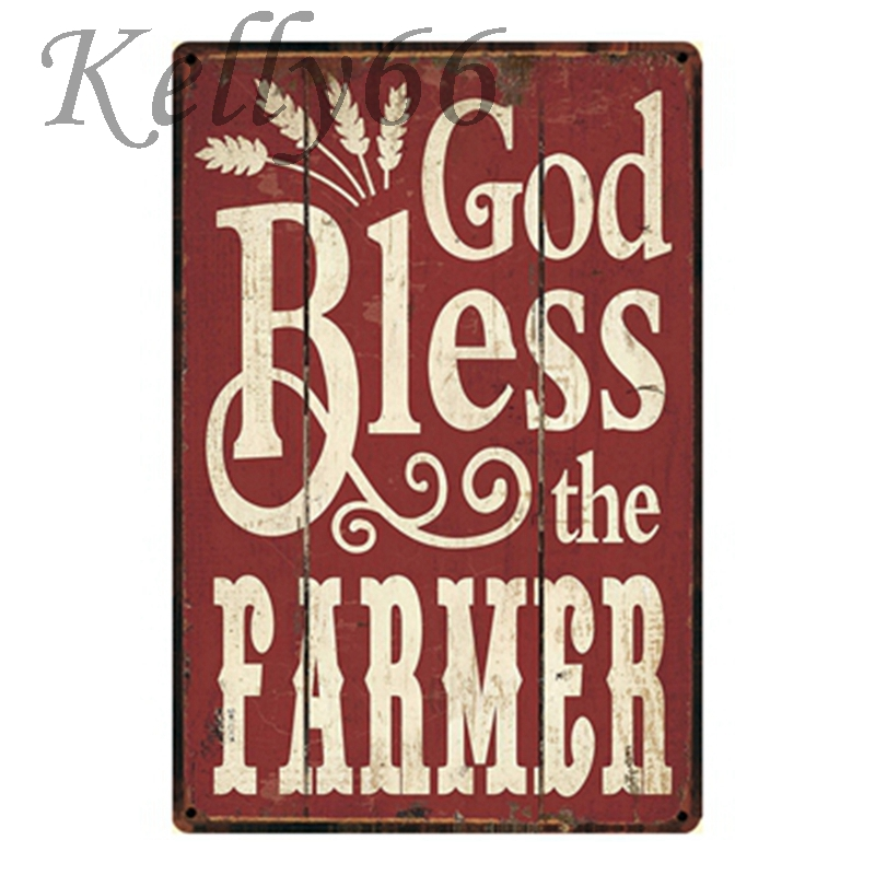 [ Kelly66 ] GOD BLESS THE FARMER Metal Sign Room Home Decor Gift Craft Wall Art Painting 20*30 CM Size y-1141