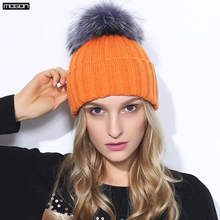2016 Special Offer Mink And Fox Ball Cap Pom Poms Winter Hat For Women Girl 's Wool Hatknitted Beanies Brand New Thick Female